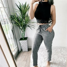 $enCountryForm.capitalKeyWord Australia - Fashion Women High Waist Paperbag Trousers Ladies Striped Casual Straight Long Pants Hot Pants Women Skinny Stretchy
