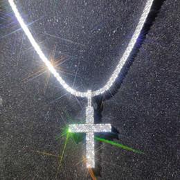 Shining Diamond Stone Cross Pendants Necklace Jewelry Platinum Plated Men Women Lover Gift Couple Religious Jewelry on Sale