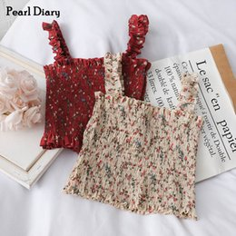 Wholesale floral shirred resale online – Pearl Diary Women Smocked Cami Top Disty Floral Print Ruched Cropped Length Top Stretchable Floral Shirred Crop Cami