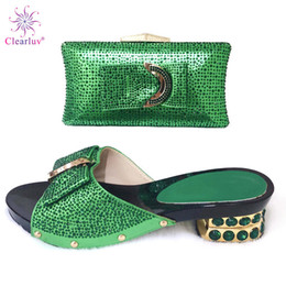 $enCountryForm.capitalKeyWord Australia - Green Italian Ladies Shoe and Bag Set Decorated with Rhinestone Wedding African Party Italian Shoes with Matching Bag for Women
