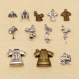 cheerleader charms wholesale Australia - 80 Pieces Metal Charms For Jewelry Making Sports Football Clothes Rugby Cheerleader Come On HJ190