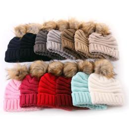 Skull ball capS online shopping - kids Fur Poms Beanie Hats Kids Ball Cap Pom Poms Winter Hat for Kids Knitted Beanies Cap Hat color KKA6328