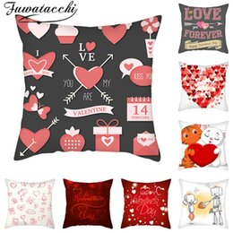 red love pillow Australia - Fuwatacchi Love Forever Pillow Cover Happy Valentines Day Cushion Cover Printed Throw Pillowcase for Home Sofa Decorative Pillow