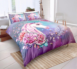 $enCountryForm.capitalKeyWord UK - Purple Fantasy Unicorn Bedding Set Queen Size Shiny Flower Duvet Cover King Home Textile Single Double Bed Set With Pillowcase 3pcs
