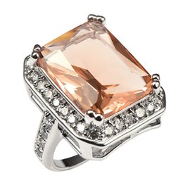Discount morganite crystal - rings for women Shiny Morganite With Multi White Crystal Zircon 925 Sterling Silver Factory price Ring For Women Size 6