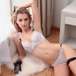 d0ce57f143 Ultrathin lingerie set plus size bras A B C D Cup sexy lace bra set  transparent women underwear black embroidery Bow