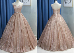 cheap corsets petite sizes UK - Fashion Rose Gold 2020 Prom Quinceanera Dresses Cheap Sweetheart Corset Ribbon With Crystal Long Cheap Designer Evening Formal Gowns