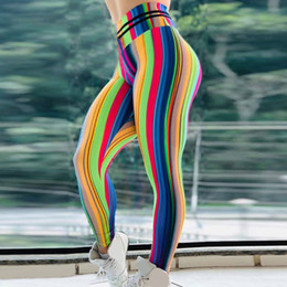 $enCountryForm.capitalKeyWord NZ - Women Casual Rainbow Strip Digital Print High Waist Sports Yoga Pants leggings sport women fitness feminina