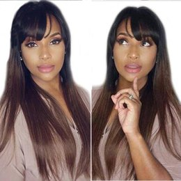 straight wigs fringe UK - Lace Front Human Hair Wigs With Bangs 1B30 Ombre Straight 130 Density Peruvian Remy Hair Natural Hairline Full Fringe wig