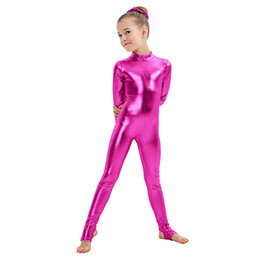 royal performance suits Australia - Kids Long Sleeve Metallic Unitards Stirrups Dance Gymnastics Leotards Girls Shiny Dancewear Stage Performance Show Suit