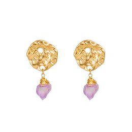 natural stone shell jewelry UK - Natural Crystal Earrings Creative Luxury Geometric Purple Stone Ear Hook Gold Plated Alloy Block Earrings Women Fashion Jewelry Accessories