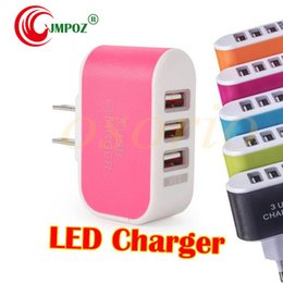 $enCountryForm.capitalKeyWord Australia - US EU Plug 3 USB Wall Chargers 5V 3.1A LED Adapter Travel Convenient Power Adaptor with triple USB Ports For Mobile Phone ( 5 colors )
