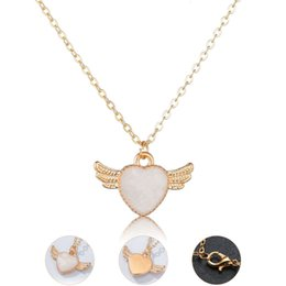 $enCountryForm.capitalKeyWord NZ - Hot Sale Charm Gold Plated Alloy Angel Wing Love Heart Necklace Pendant girls Necklace For Women Party Accessories
