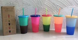 Cup straws online shopping - HOT oz Color Changing Cup Magic Plastic Drinking Tumblers with lid and straw Candy colors Reusable cold drinks cup magic Coffee mug