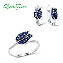 925 Sterling Jewelry Sets Australia - Santuzza Flower For Unique Bridal Blue Nano Cubic Zirconia Ring Earrings 925 Sterling Silver Fashion Jewelry Set J 190514