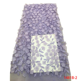 $enCountryForm.capitalKeyWord UK - 3D Lace Fabric Lilac Applique Flowers Lace Trim Tulle Lace Fabric Sewing Accessories African Fabric High Quality Cheap QF1481B-1