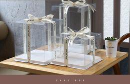Wholesale PET birthday cake case transparent cake box customization logo cake case 4 inch double deck boxdrop shipping
