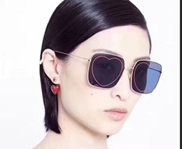 4893edfa17631 New Top quality square Brand sunglasses cat eye gold frame women s luxury  Heart-shaped lens design sunglasses popular protection sunglasses