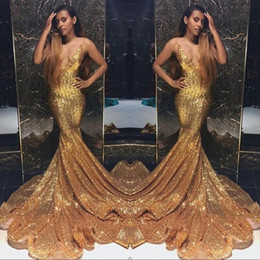 China Gold Sparkling Sequins Mermaid Prom Dresses Long Deep V Neck Beaded Stones Backless Sweep Train Party Evening Gowns cheap long ruffle sparkle prom dresses suppliers