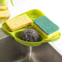 Kitchen Containers Wholesale Australia - 27*19cm Storage Holders Sponges Kitchen Sink Corner Shelf Wall Cuisine Dish Rack Drain Cases Containers Dropshipping