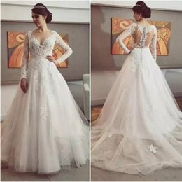 Delicate Lace Back Wedding Dress Australia - Delicate Lace Dresses Appliques Tulle 2019 Wedding Dress Button Tiered Skirts Back Long Sleeve V-Neck Glamorous Wedding Gowns