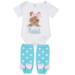 Wholesale 2019 New Brand Baby Tops Rompers Rabbit Embroidered Baby Girls Boutique Outfits Girl Romper Leg Warmer Clothes Outfit Set