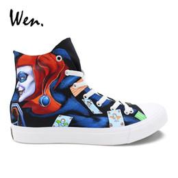 Platform Pedals Australia - Wen Hand Painted Canvas Shoes Male Footwear Custom Design Joker Sneakers Graffiti Female Pedal Platform Flat Lacing Loafers #280786