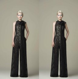 $enCountryForm.capitalKeyWord NZ - Saiid Kobeisy 2019 Black Prom Jumpsuits Lace Appliqued Beaded A Line Evening Dresses With Pocket Cocktail Party Gowns Floor Length