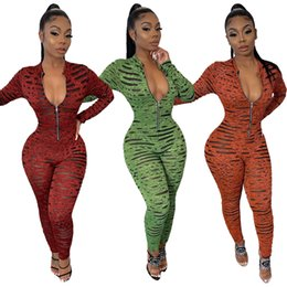 digital print jumpsuit NZ - New Women Digital Printing Skinny Rompers 2020 Spring Newest Deep V Neck Long Sleeves Zipper Tight Jumpsuits Sexy Party Outfits