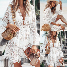 05955298b4 2019 New Summer Women Bikini Cover Up Floral Lace Hollow Crochet Swimsuit  Cover-Ups Bathing Suit Beachwear Tunic Beach Dress Hot