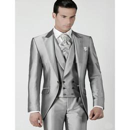 $enCountryForm.capitalKeyWord Australia - 2017 terno slim fit Silver Prom Groom Mens Suit Tuxedos Jacket+Pants+Vest Custom Made Wedding Suits For Men Groomsmen Suits