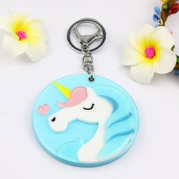 $enCountryForm.capitalKeyWord NZ - Unicorn mirror compact keychain hot welcomed design round shape key ring custome acrylic key charms fashion pocket gifts