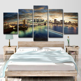$enCountryForm.capitalKeyWord Australia - Canvas Paintings Wall Art Living Room Home Decor 5 Pieces Brooklyn Bridge City Night View Pictures HD Prints Posters