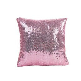 Discount sequin home decor Pillowcase Solid Color Glitter Silver Sequins Bling Throw Pillow Case Cafe Home Decor Cushion Cover Decorative 40*40cm w