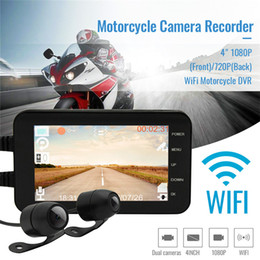 "wifi dash cams Australia - 4"" 1080P(Front) 720P(Back) WiFi Motorcycle DVR Driving Video Recorder Front & Rear Camera Dash Cam car dvr"