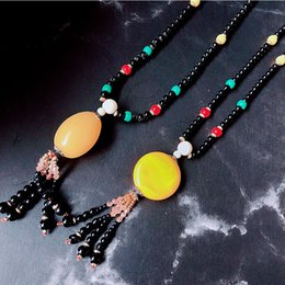 souvenir necklaces Canada - Women Jewelry Necklace Ethnic Wind Retro Necklace Jade Long Sweater Chain Scenic Area Souvenirs Jewelry Wholesale