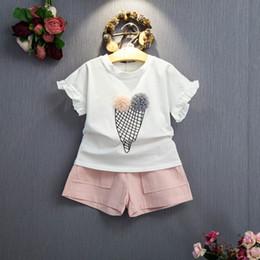 Girls Ice Cream Shirt Australia - Summer Baby Girls Clothes 2pcs Sets Casual Ice Cream Short Sleeve T-Shirt + Shorts Suit Baby Girls Clothes Kids Clothing