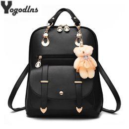 $enCountryForm.capitalKeyWord Australia - Preppy Style Women Backpack Bear Toys Pu Leather Schoolbags For Teenage Girls Female Rucksack Shoulder Bag Travel Knapsack J190523