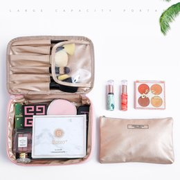 CosmetiC bag Case set online shopping - 2 Sets Letter Cosmetic Bag Make Up Case Travel Zipper Waterproof Makeup Organizer Toiletry Beauty Wash Girl Women Storage Pouch