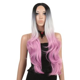32 inch wigs NZ - New Fashion Cos Anime Female Chemical Fiber High Temperature Silk Gradient Color 32 Inch Wig Set
