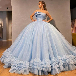 Wholesale teen model sexy picture online – Sparkly Light Sky Blue Sequined Quinceanera Dresses For Teens Sweet Vestidos Tier Ruffles Pleats Strapless Ball Gown Prom Evening Gowns