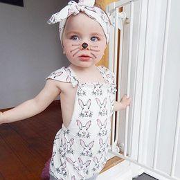 Jumpsuits Rabbit Girl Australia - Summer baby romper clothes Baby girls cute rabbit fly sleeve romper kids jumpsuit children bodysuit one -piece KKA6949
