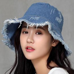 6b400f50 Womens Denim Bucket Hat Male Korean Style Casual Cowboy Fishing Caps  Fashionable Spring Summer Cool Jeans Tassel Sun Hats