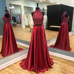 $enCountryForm.capitalKeyWord UK - Prom Dresses Sexy two-piece wine red dance dress with high collar and back shoulder strap heavy handmade style sparkling custom package