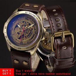 $enCountryForm.capitalKeyWord NZ - Skeleton Mechanical Watch Automatic Watch Men Steampunk Bronze Transparent Mens Automatic Mechanical Wrist Watches Clock For Man