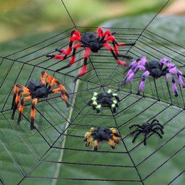 black plush spiders Australia - Spider web Halloween Plush Toys Black White Cobweb Haunted House Bar Party Festive Prop Stage Indoor Outdoor Toys Party Supplies FA2451
