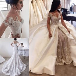 models skirt lace UK - Luxury Beaded Sheer O-neck Wedding Dresses with Detachable Train 2020 Stunning Lace Applique Arabic Church Princess Mermaid Wedding Gown