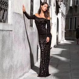 Gold Lace Peplum Dress Australia - Black Sequins Mermaid Evening Dress Long Sleeves Off Shoulder Elegant Women Formal Dress Party Prom Dresses 2019