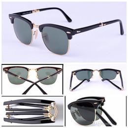 $enCountryForm.capitalKeyWord NZ - Brand Foldable Sunglasses Club Master UV400 Glass Lens Sunglasses Mirror Metal folding Sun Glasses Men Women with Original Folding Package