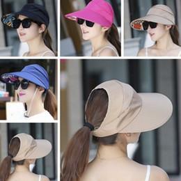 $enCountryForm.capitalKeyWord Australia - Summer Sun Protection Folding Sun Hat For Women Wide Brim Cap Ladies Girl Holiday UV Protection Hat Beach Packable Visor
